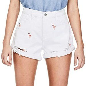 Guess Zuri Flamingo High Waist Denim Shorts